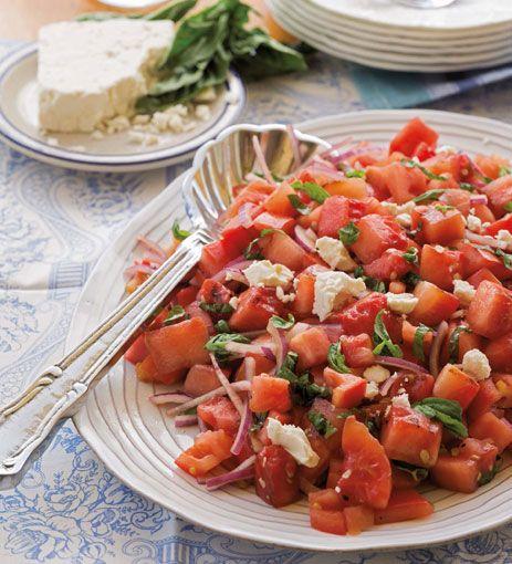 Tomato Watermelon and Feta Salad